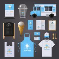 Conjunto de ícones de identidade corporativa de sorvete