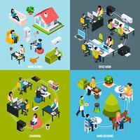 Conjunto de ícones de conceito de Coworking vetor