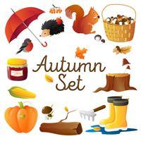 Conjunto de ícones de outono redondo cartaz de composição