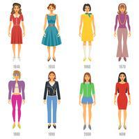 Conjunto de ícones de evolução de moda