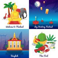 Cultura da Tailândia 4 ícones quadrados plana vetor