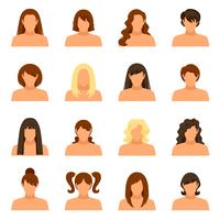 Conjunto de ícones de penteado de mulher vetor