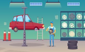 Cartaz da composição dos desenhos animados da garagem do serviço do carro vetor