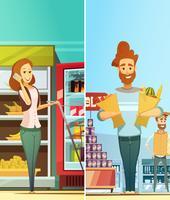 Compras de supermercado 2 Banners verticais retrô vetor