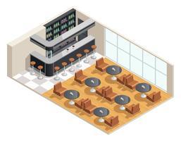 Ilustração isométrica Interior de café