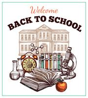 De volta ao cartaz da escola vetor