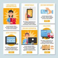 Banners verticais de compras on-line