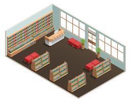 Interior de biblioteca isométrica