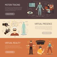 Banners de jogos de realidade virtual vetor