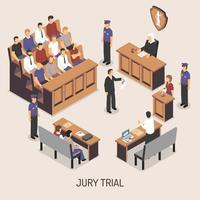Composição isométrica do julgamento do júri vetor