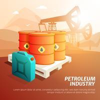 Cartaz isométrico das facilidades da indústria petroleira do petróleo