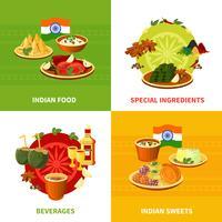 Comida indiana 4 ícones quadrados plana vetor