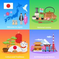 Cultura do Japão 4 ícones lisos quadrados vetor