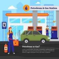 Ilustração de petróleo e posto de gasolina