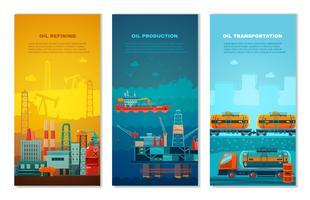 Conjunto de Banners verticais de indústria de petróleo