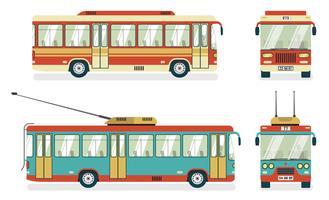 Trólebus de transporte público 4 ícones vetor