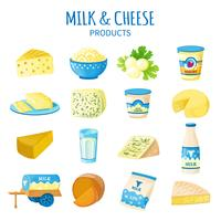 Conjunto de ícones de leite e queijo