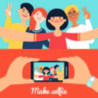 Selfie foto de amigos Banners vetor