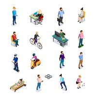 Conjunto de ícones de pessoas isométrica vetor