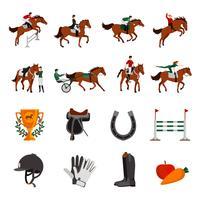 Ícones de esporte de subida de cavalo