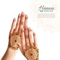 Mehndi Henna Woman Hads Design Realista vetor