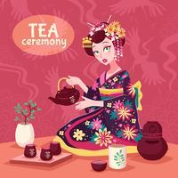 Cartaz da cerimónia de chá vetor
