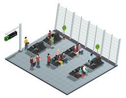Composição isométrica da sala de embarque do aeroporto
