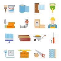 Conjunto de ícones de materiais de construção