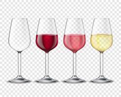 Bebidas de álcool de copos de vinho conjunto Poster transparente vetor