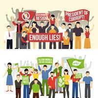 Banners horizontais de demonstrações políticas e ecológicas