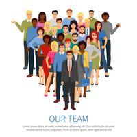 Multidão profissional pessoas equipe plana Poster