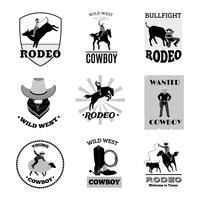 Conjunto de emblemas preto de rodeio vetor