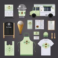 Conjunto de Design corporativo de sorvete vetor