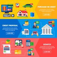 Banners horizontais de dívida de empréstimo