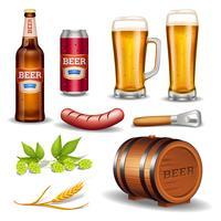 Coleção de ícones realista de cerveja