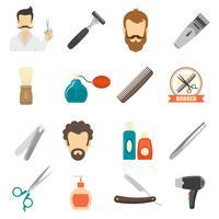 Ícones de cor de barbeiro vetor