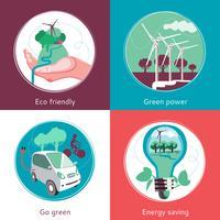 Conceito de ecologia 4 bandeira de ícones plana