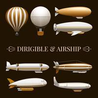 Conjunto de ícones de balão e dirigível