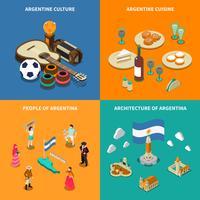 Argentina 4 isométrica turística ícones quadrados vetor