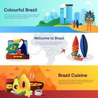 Conjunto de Banners horizontais plana de viagens Brasil vetor