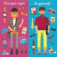 Banners verticais menino e menina hipster vetor