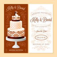 Conjunto de Banners de convite de casamento vetor