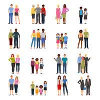 Coleção de amigos ícones plana de amigos vetor