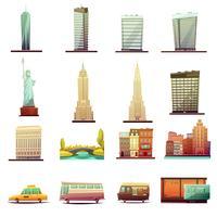 Conjunto de ícones de paisagem de transporte de Nova York vetor