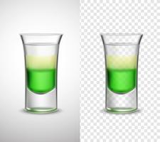 Bebidas alcoólicas coloridas de vidro transparentes Banners vetor