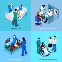 Conjunto de ícones do médico paciente isométrica