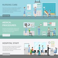 Banners horizontais de cuidados de saúde de enfermeira
