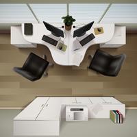 Ilustração de vista superior interior do escritório