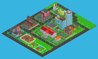 Mapa isométrico de cidade moderna vetor