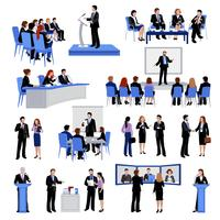 Coleção de ícones plana de pessoas de falar em público vetor